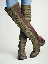 Womens Retro Suede Low Heels Zip Over Knee High Gladiator Boots Shoes Knight Sz