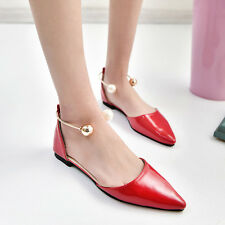 Womens Pointy Toe Flat Slip On Flats Cut Out Solid Single Rhinestone Shoes Size