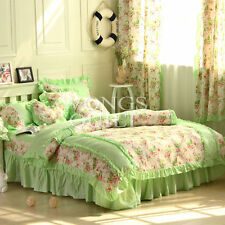 Floral Quilt/Doona Duvet Cover Set Double/Queen Bed Size Green Pillowcases New