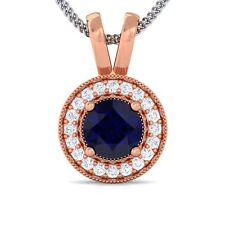 Blue Sapphire FG SI Diamond Round Halo Gemstone Pendant Women 10K Solid Gold