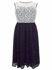 NEW - EX DOROTHY PERKINS BLACK/WHITE LACE PARTY/OCCASION DRESS - SIZES 18 - 26