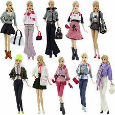 Daily Outfit Fashion Coat Pant Top Clothes Shoes Bag For Barbie Doll Clothes Toy