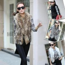 100% Real Knit farm Rex rabbit fur vest/gilet Ussuri RACCOON fur collar&Tail Hot