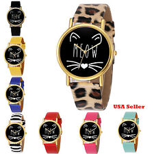 New Fashion MEOW Design Leather Cute Lady Women Girl Quartz Wrist Watch Watches