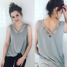 Women V-neck Sleeveless T-shirt Vest Tank Camisole Casual Blouse Top Fashion