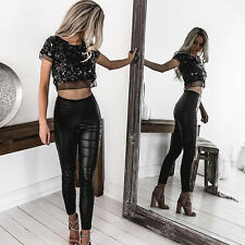 Summer Women's Casual Sexy Short sleeve Organza Sequined bare midriff Crop Top