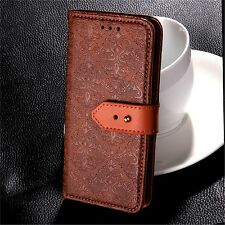 For iPhone Samsung Vintage Flower Embossed Leather Flip Wallet Case Stand Cover