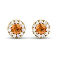 Orange Citrine FG SI Diamond Gemstone Womens Halo Stud Earring Yellow Gold