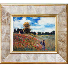 'Poppy Field Argenteuil Oil Painting' by Claude Monet Framed Original Painting