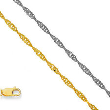 14k Solid Gold 1.5mm Singapore Chain Bracelet Necklace Anklet