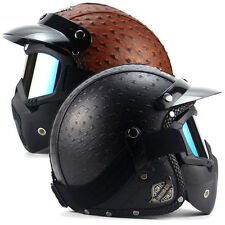 2 Colors Z16B8 Motorcycle Half Face Helmets +Goggle & Mask Safe Protector Zebra