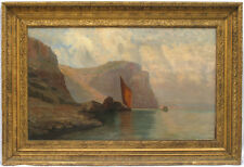 Antique 19th century American Hudson River School Large Oil/Canvas Seascape
