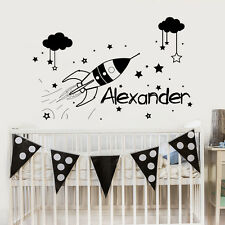 Boys Name Wall Decal Rocket Decal Space Sticker Nursery Room Decor Home Art MM32