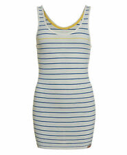 New Womens Superdry Factory Second Stripey Classic Tank Chalk
