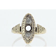 Antique Victorian Rose Cut Diamond Ring in Solid 10k Yellow Gold