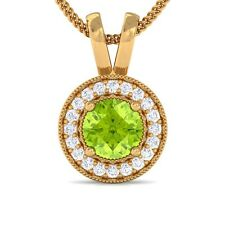 Green Peridot GH VS Diamond Round Halo Gemstone Pendant Women Yellow Gold
