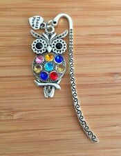 Crystal Wise Owl Thank You Teachers Gift Charm Bookmark  - Gift for Teacher