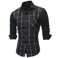 New Mens Slim Fit Long Sleeve Shirt Plaid Casual Button Weeding T-Shirt Blouse