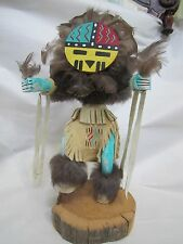 "HAND CARVED WOODEN NAVAJO INDIAN ""SUN FACE"" KACHINA DOLL WOOD SIGNED BY C. ASHBY"