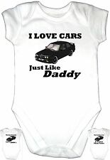 LOVE CAR BMW BLACK Daddy Baby Grow Gro Clothes u k Vest Body Suit Motor Top