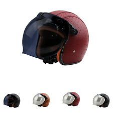 Zebra Retro DOT 1PC * Motorcycle Harley PU Leather Half Helmets + Bubble Visor
