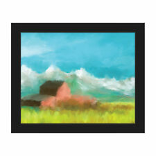 Click Wall Art 'Mountain Farm' Framed Painting Print on Canvas