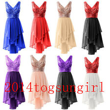 V Neck Sequin Chiffon Evening Formal Party Ball Gown Prom Bridesmaid Dress 6-30