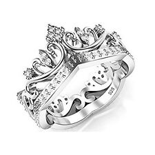 Eternity Sterling Silver 925 Cubic Zirconia Princess Crown Tiara CZ Band Ring