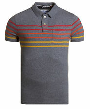 New Mens Superdry Bay Stripe Polo Storm Blue Grindle M