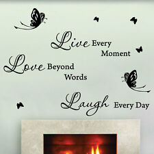 Live Love Laugh Butterfly Art Wall Quotes Stickers Decals Bedroom wall deco
