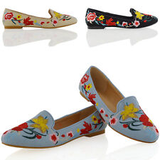 New Womens Embroidered Loafers Shoes Ladies Floral Slip On Ballerina Flat Pumps