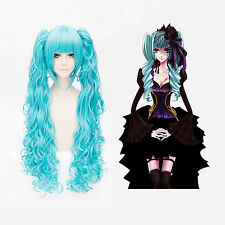 Vocaloid Hatsune MIKU Long Curly Blue Cosplay Wig with Free Hairnet