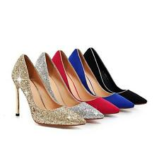 Ladies Synthetic Leather Pointed Shoes Stilettos High Heels Pumps Court Shoes Sz