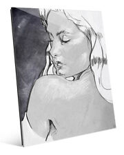Click Wall Art 'Shoulder Glance Grayscale' Drawing Print on Acrylic
