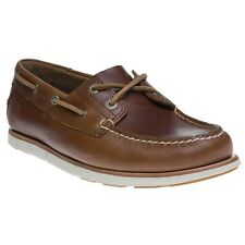 New Mens Timberland Brown Tidelands 2 Eye Leather Shoes Boat Lace Up
