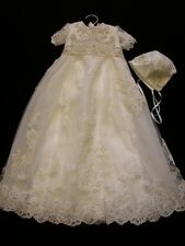 New Born Baby Girl Christening Baptism Formal Dress Gown white Ivory Lace Beaded