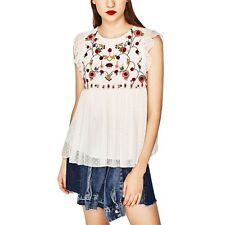 Flower Embroidered Blouses Women's Fashion Sleeveless Loose Chiffon Shirt Tops