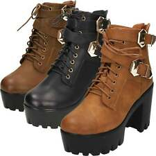 Chunky High Heel Platform Lace Up Zip Ankle Boots Goth Punk Combat Strappy Cleat