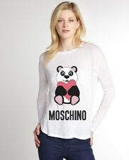 White Women Top Tee T-shirt Blouse Long Sleeve Cute Bear Love Moschino