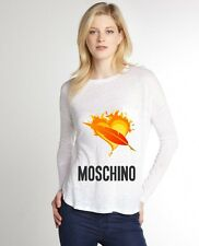 White Women Top Tee T-shirt Blouse Long Sleeve Fire Leave Love Moschino