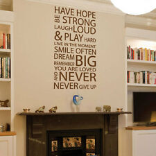 Family Love Have Hope Art Wall Quotes / Wall Stickers/ Wall Decals
