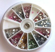20 OR 40 ROUND & MIXED SHAPE RHINESTONES FOR NAIL ART GREAT COLOURS