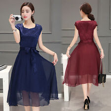 2017 Fashion Womens Cap Sleeve Floral Organza Cocktail Evening Belted Midi Dress