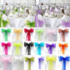 10/50/100pcs Organza Chair Cover Sash Bows Wedding Party Reception Banquet Decor