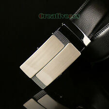 New Men's Luxury Genuine Leather Adjustable Auto Lock Buckle Waist Strap Belt