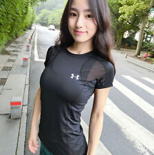 Under Armour LG Compression Heat Gear Athletic Tee-Shirt Womens Tee Tops