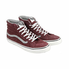Vans Sk8 Hi Slim Mens Red Suede High Top Lace Up Sneakers Shoes