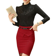 Sexy ElegantWomenStand Colloar Lace Slim Business OL Tops Blouses Shirt