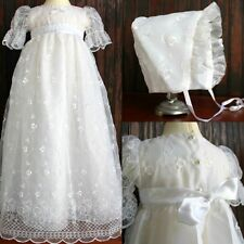 Lace Christening Outfits Infant White Ivory Baby Baptism Gowns +Bonnet 0-24M New