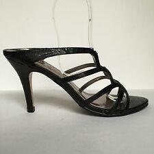 Mischief Black Strappy Caged Leather Look Slip On Mule Sandals High Heel